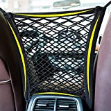 Hyrew 2 Pcs Pet Net Barrier, Dog Car Mesh Barrier Back Seat Net Organizer Mesh Obstacle with Hook for Pet Disturb Stopper & Storage Pouch