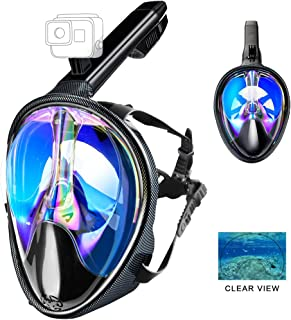 XYDIV Full Face Snorkel Mask 180°Panoramic View Upgraded UV Protection Dive Mask with Detachable Camera Mount,Dry Top Set Anti-Fog Anti-Leak Safety Free Breath Scuba Mask for Adults & Youth