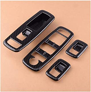 ZRNG 4pcs Carbon Fiber Car Interior Door Window Master Lifter Switch Cover Trim Frame Fit For Jeep Cherokee 2014 2015 2016...