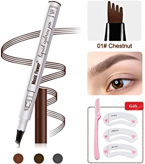 Eyebrow Tattoo Pen -Tattoo Eyebrow Pen Waterproof Ink Gel Tint with Four Tips, Long Lasting Smudge-Proof Natural Hair-Like Defined Browns All Day (01# Chestnut)