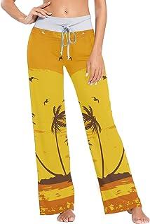 XiangHeFu Pantaloni Pigiama da Donna, Pantaloni da Yoga, Leggings Inferiori, Pantaloni da Salotto a Vita Alta, Tramonto su...