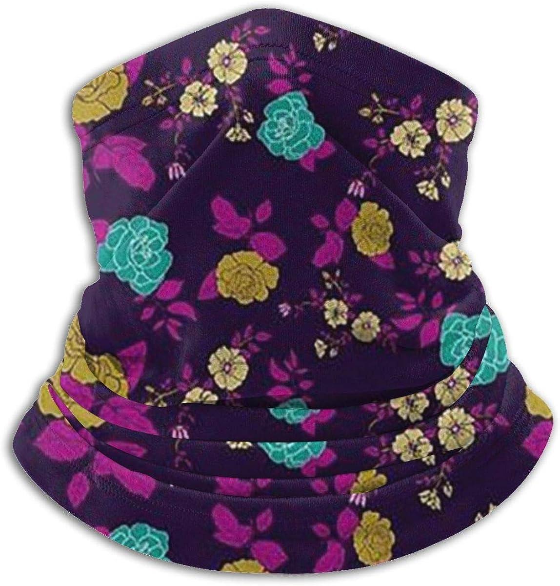 Summer Floral Black Multi-function Neck Warmer Gaiter Polyester Neck Warmer Windproof Winter Neck Gaiter Cold Weather Scarf For Men Women