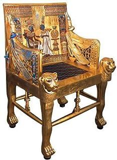 CAPRILO Silla Egipcia Decorativa de Resina Trono. Muebles Auxiliares. Esculturas. Decoración Hogar. Regalos Originales. 105 x 73 x 63 cm.