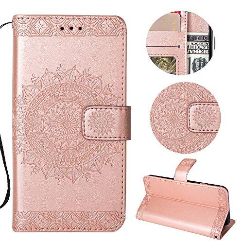 Sycode Galaxy S9 Plus Wallet Hülle,Galaxy S9 Plus Ledertasche,Totem Blumen Roségold PU Leder Brieftasche für Samsung Galaxy S9 Plus-Roségold