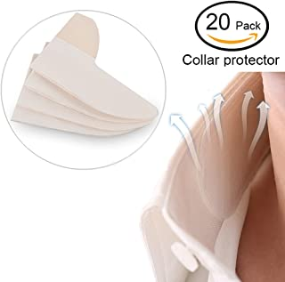 White Collar Grime Disposable Collar Protector Neck Sweat Pads - 20 Pack Absorbent Collar Liners Shirt Neck Protecting Liner Pads Keep You Dry & Discreet & Sweat Free & Odor Free & Stains Free