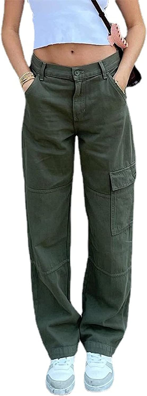 Qinvern Women's Casual Pants High Waist Multi-Pocket Work Commute Straight Leg Pants