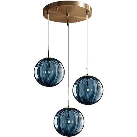 LFsem Nordic 3 lumières Luminaire Suspension Ø15cm Verre Globe Plafonnier Moderne Simple Lampe Suspension E14 Loft Lustre Décoration Luminaires (Bleu)