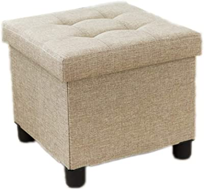 LIN-rlp Storage Stool Single Seat Linen Folding Box Pouffe Ottoman Chairs Creative Footstool (Color : Beige)