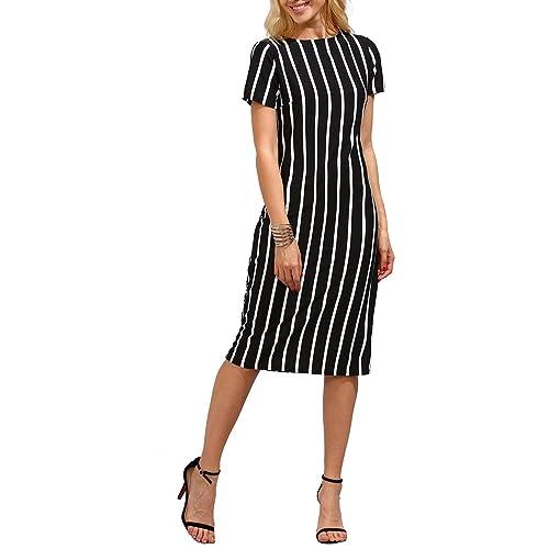 8b275b11e6 Verochic Women's Short Sleeve Round Neck Elegant Workwear Vertical Striped  Pencil Skinny Dress
