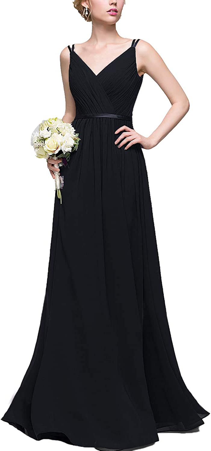 QiJunGe Women's Long Bridesmaid Dresses V Neck Wedding Party Dress with Straps