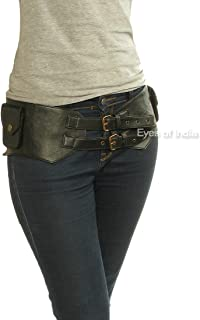 Eyes of India - Black Leather Belt Hip Bum Waist Pouch Bag Utility Fanny Pack Pocket Travel