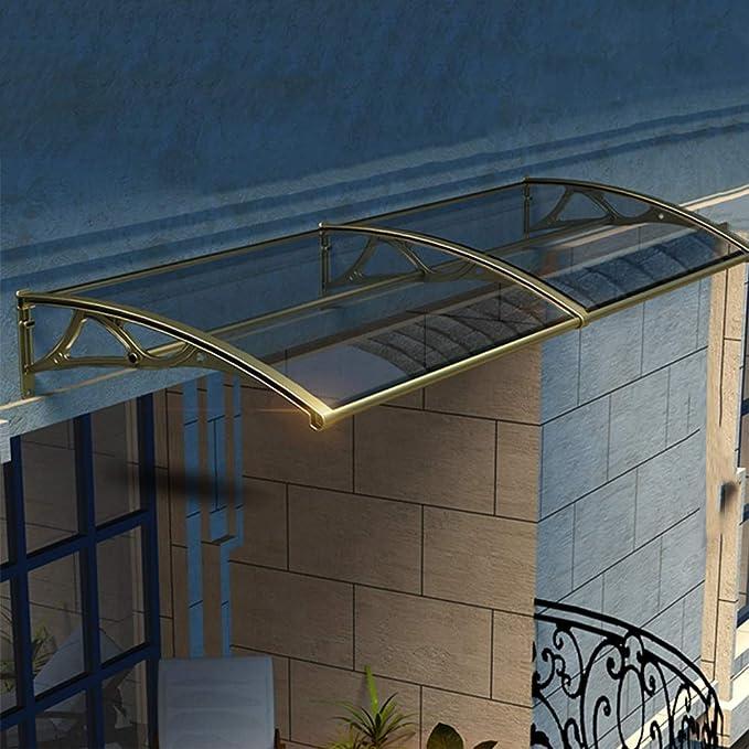 Zum Terrasse Fenster QIANDA Vordach Haust/ür /Überdachung Size : 60cm x 60cm Polycarbonat Pultvordach Regenbest/ändig Schnee UV-Schutz Braun Tafel Schlagfest