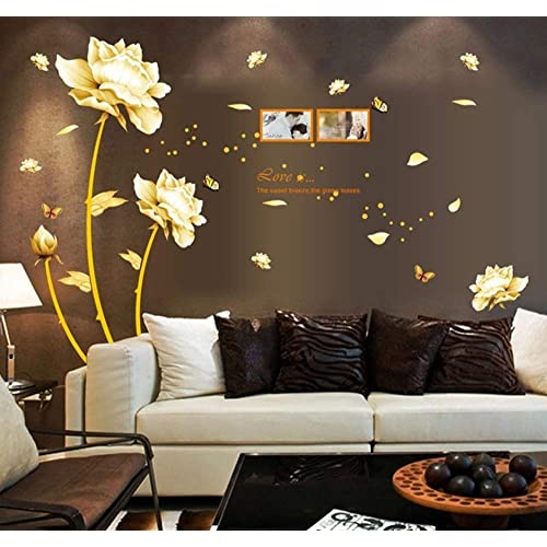 ufengke® Beautiful Peony Flowers Butterflies Photo Frame Wall Decals, Living Room Bedroom Removable Wall Stickers Murals