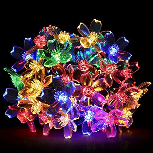 LE Catene Luminose a fiore, RGB Impermeabile Portabile, Luce solare 7m 50Leds 1.2V