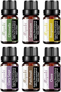 Miyuki Essential Oil Sets Organic Plant & Natural 100% Pure Therapeutic Grade Aromatherapy Oils for Diffuser Humidifier wi...