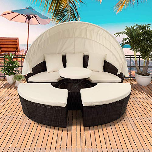 Merax All-Weather Outdoor Sectional Sofa Conversation Set Rattan Round Daybed Sunbed with Retractable Canopy, Height Adjustable Table/Footrest and Removable Cushion (Beige)