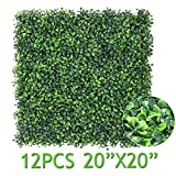 Sunnyglade 12 Pieces 20'x20' 32 Square Feet Artificial Boxwood Panels Topiary Hedge Plant, Privacy Hedge Screen UV Protected Suitable for Outdoor, Indoor, Garden, Fence, Backyard and Décor (Style-1)