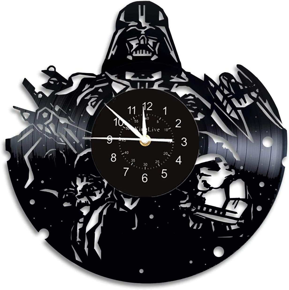 Vinyl Record Wall Clock with Star Wars Design 12 inch Wall Clock 3D Hanging Wall Watch Home Decor Wall Art Best Gift for Friends Home Decoration