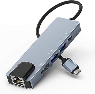 Lemorele Hub USB C 5 in 1 con Ethernet, Multipresa Adattatore da USB-C 4K a HDMI, 2 Porte USB, Porta di Ricarica PD Hub US...