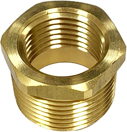 "Nigo Industrial Co. Brass Pipe Fitting, Hex Bushing Reducer, Nominal Pipe Size: 1/2"" NPT Male x 1/8"" NPT Female"
