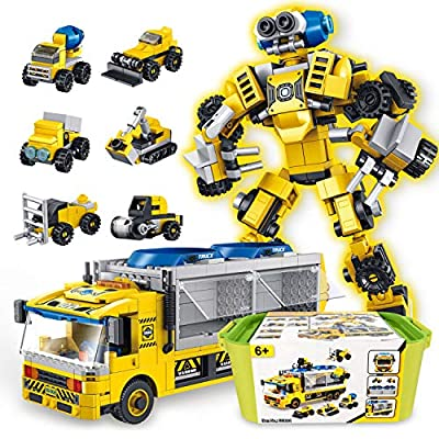 SUMXTECH STEM Toys Building Blocks, Take Apart Toy Construction Robot Vehicles 6 in 1 Play Set with Portable Case, DIY 3D Assembly Educational Learning Toys Gifts for Boys Girls (649PCS)