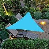 Velas de Sombra Triangular Poliéster Toldo Paño Oxford Encriptado Capa Impermeable Plateada Anti-UV Borde Resistente Al Desgarro Marquesina de Protección Solar,Sky Blue,3x3x3 Meters