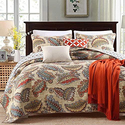 YEE Juego de colcha de 3 piezas, juego de sábanas de algodón con retazos y 1 funda de almohada (color: R, tamaño: 230 x 250 cm + 50 x 70 cm x 2)
