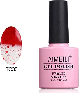 AIMEILI Soak Off UV LED Temperature Color Changing Chameleon Gel Nail Polish - Glitter Red to Transparent (TC30) 10ml