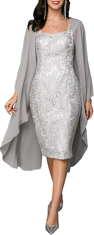 Women's Sheath Dress Open Front Top + Lace Sleeveless Wedding Party Cocktail Bridesmaid Midi Bodycon Dress