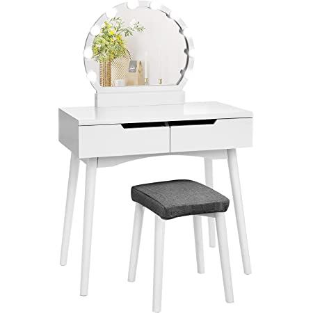 VASAGLE Makeup Vanity Set with 10 Light Bulbs and Touch Switch, Dressing Makeup Table Desk with Large Round Mirror, 2 Sliding Drawers, 1 Cushioned Stool, White URDT11WL
