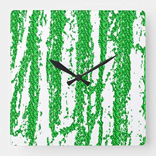 Kysd43Mill Reloj de pared cuadrado de madera con purpurina verde para sala de estar, habitación de los niños, niñas y niños, 30,5 cm