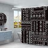 N / A Cortina de Ducha Letras inglesas y Rayas étnicas Hotel Grueso Impermeable imitación Lino baño doméstico Cortina de Ducha Impermeable A3 180x180cm
