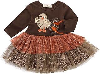 T TALENTBABY Neugeborene Mädchen Onesies Jumpsuit Outfits Tutu Kleid Set Baby Mädchen Strampler Erntedankfest True Turkey Feather Jumpsuit Tutu Princess Rock