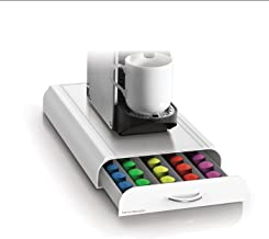 Mind Reader 50 Capacity Nespresso Capsule, 24 Capacity Vertuoline Coffee Pod Storage Drawer Organizer, White