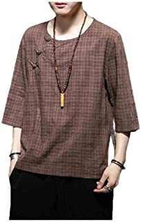 SportsX Men Summer Plaid Plus Size Cotton Linen Short-Sleeve T-Shirt