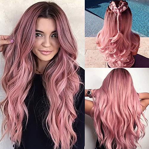 Pelucas largas de color rosa para mujer, pelo sintético natural, con raíces oscuras, peluca sintética ondulada, resistente al calor