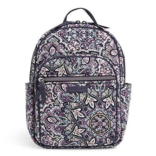 Vera Bradley Women's Signature Cotton Small Backpack Bookbag, Bonbon Medallion, One Size