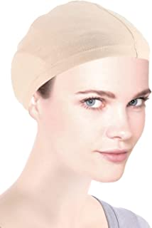 Cotton Wig Liner Cap in Beige for Women with Cancer, Chemo, Hair Loss,