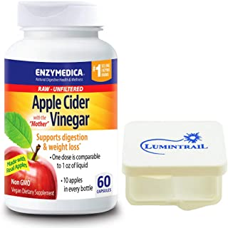 Enzymedica Apple Cider Vinegar Capsules, Natural Support for Digestion and Healthy Weight Balance with The Mother Preserved in Each Serving, 60 Capsules Bundle with Lumintrail Pill Case