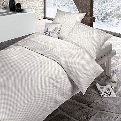schlafgut Casual Cotton Bettwäsche Starcheck Sand 1 Bettbezug 135x200 cm + 1 Kissenbezug 80x80 cm