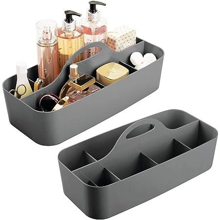 mDesign panier de salle de bain en plastique avec poignée en lot de 2 – rangement cosmétiques, cuisine ou range-torchons – petite boîte de rangement – gris foncé