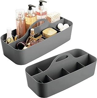 mDesign panier de salle de bain en plastique avec poignée en lot de 2 – rangement cosmétiques, cuisine ou range-torchons –...