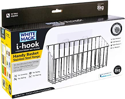 White Magic Hook Handy Basket, Silver