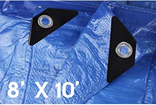Hanjet Lightweight Outdoor Tarp 8 x 10 5 Mil Multi-purpose Waterproof Reinforced Rip-Stop Tarps with Grommets Blue