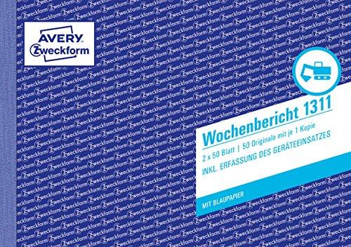 AVERY Zweckform 1311 Wochenbericht (A5 quer, mit 2 Blatt Blaupapier, von Rechtsexperten geprüft, für Deutschland/ Österreich zur wöchentlichen Dokumentation der Arbeitsleistung, 2x50 Blatt) weiß/gelb