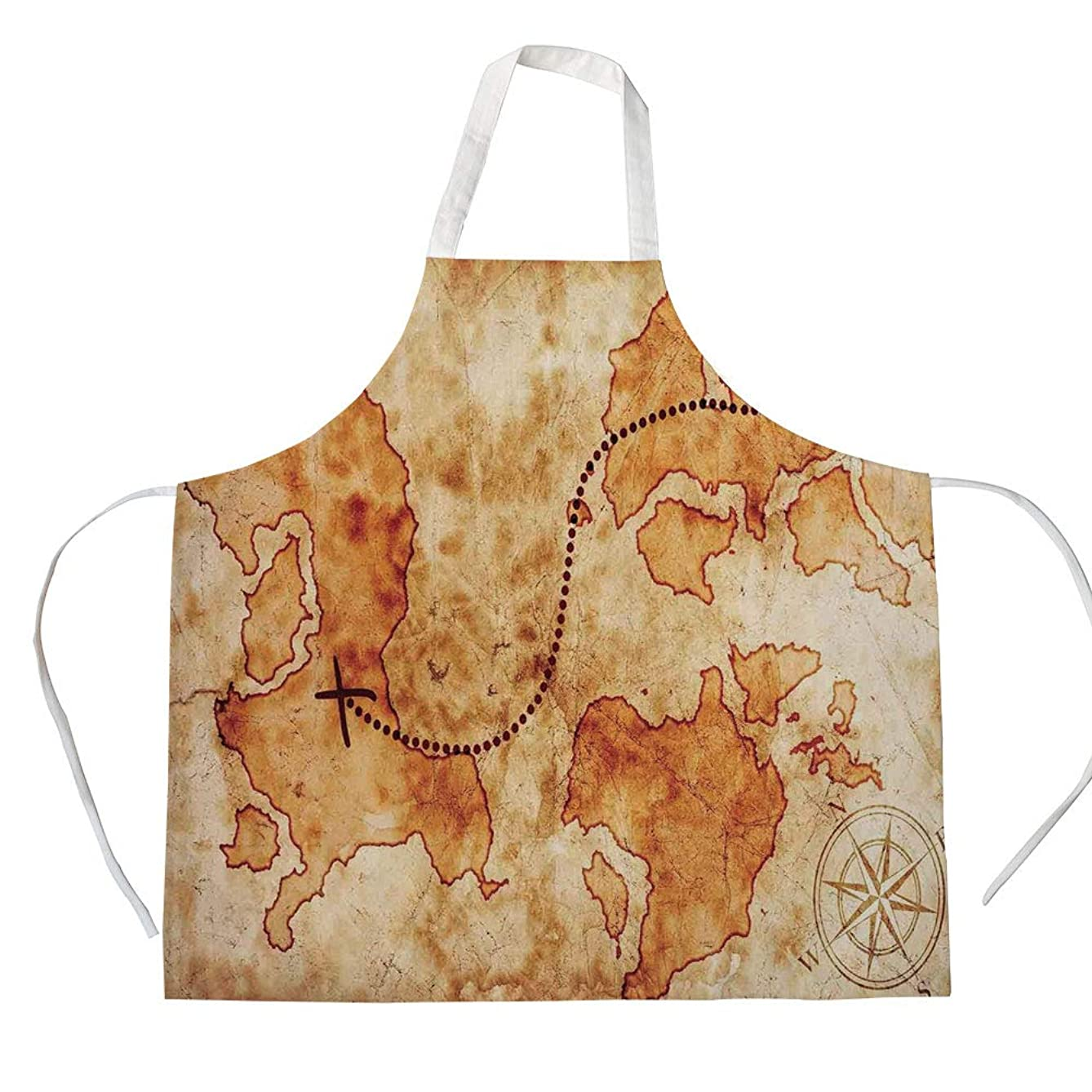 Island Map 3D Printed Cotton Linen Apron,Authentic Distressed Grunge World Map Wind Rose Compass Pattern Treasure Map Picture,for Cooking Baking Gardening,Cream