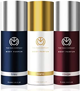 The Man Company Trio Body Perfume for Men   Blanc, Bleu, Rouge Deodorant Set   Premium Long Lasting Fragrance   Body Spray...