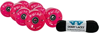 Devaskation Atom Pulse Pink Outdoor Quad Skating Wheels (8 Pack), RollerBones Bearings (Already Installed) Derby Laces - 3 Item Bundle