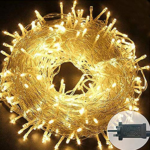 Plug in LED String Lights, 500 LED Plug Fairy Lights 165 feet 8 Modes Wire Lights Mains Powered Dissemble Firefly String Lights for Bedroom Wedding Party Indoor Decoration (Warm White)