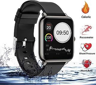 (2020 Nuevo) Reloj Deportivo Pantalla Táctil Completa de 1.3 Pulgadas, Sendowtek Reloj Inteligente para Android y iOS Móvil, con Monitor de Frecuencia Cardíaca y Presión Arterial, Monitor de Sueño, Recordatorio de Información y Contador de Pasos A Prueba de Agua